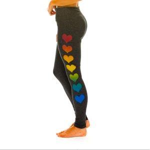 NWT Aviator Nation Rainbow Heart Leggings L